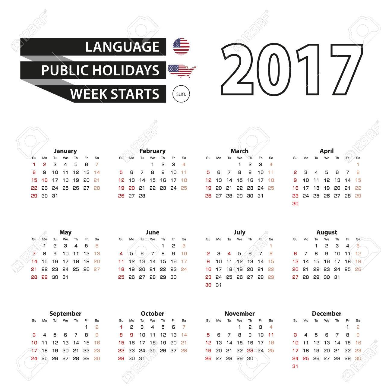 Calendar 2017 on english language with public holidays for united calendar 2017 on english language with public holidays for united states of america in year publicscrutiny Image collections