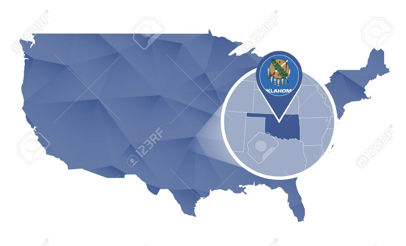 Oklahoma State Magnified On United States Map. Abstract USA Map ...