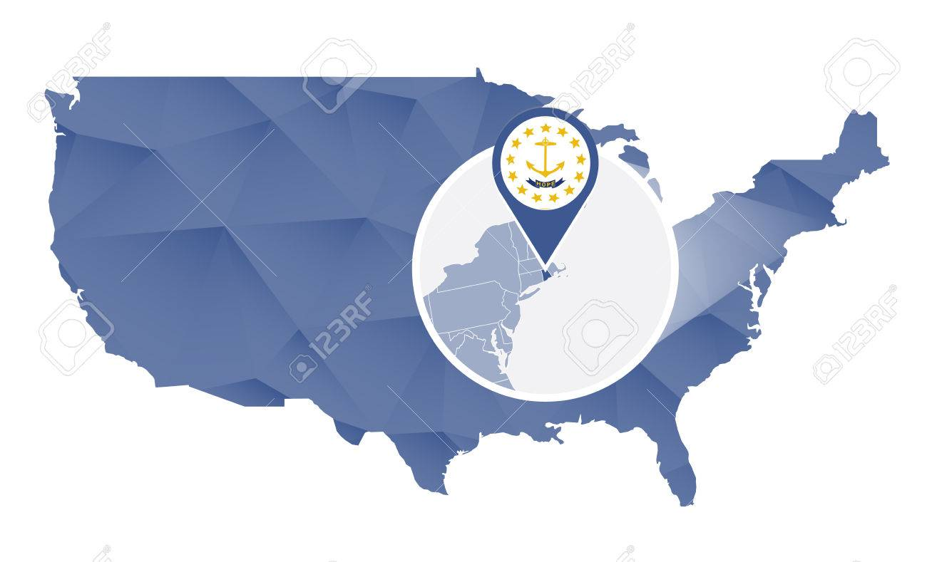 Rhode Island State Magnified On United States Map Abstract USA - Rhode island on us map