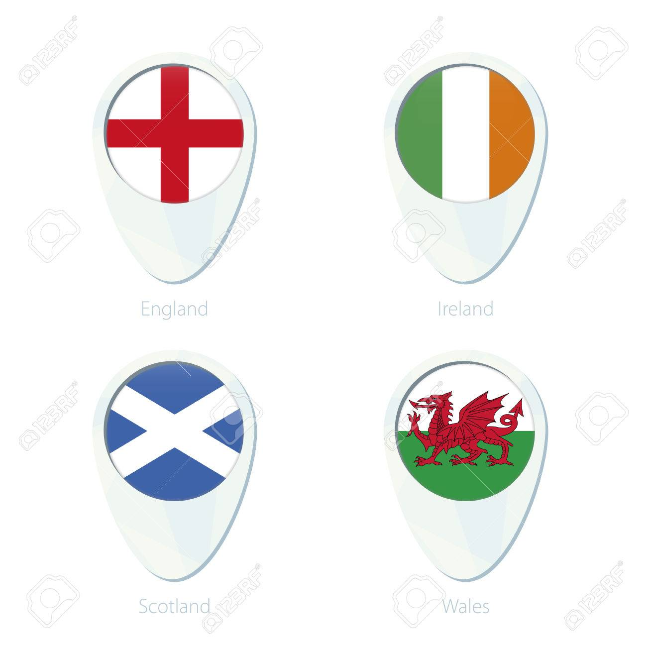 Map Of England And Ireland And Scotland And Wales.England Ireland Scotland Wales Flag Location Map Pin Icon