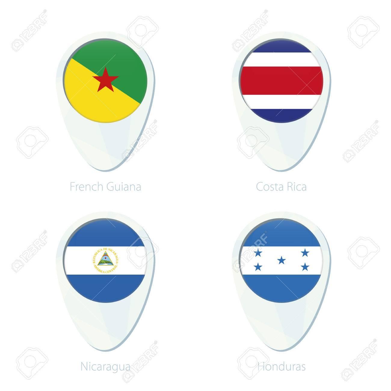 French Guiana Costa Rica Nicaragua Honduras Flag Location