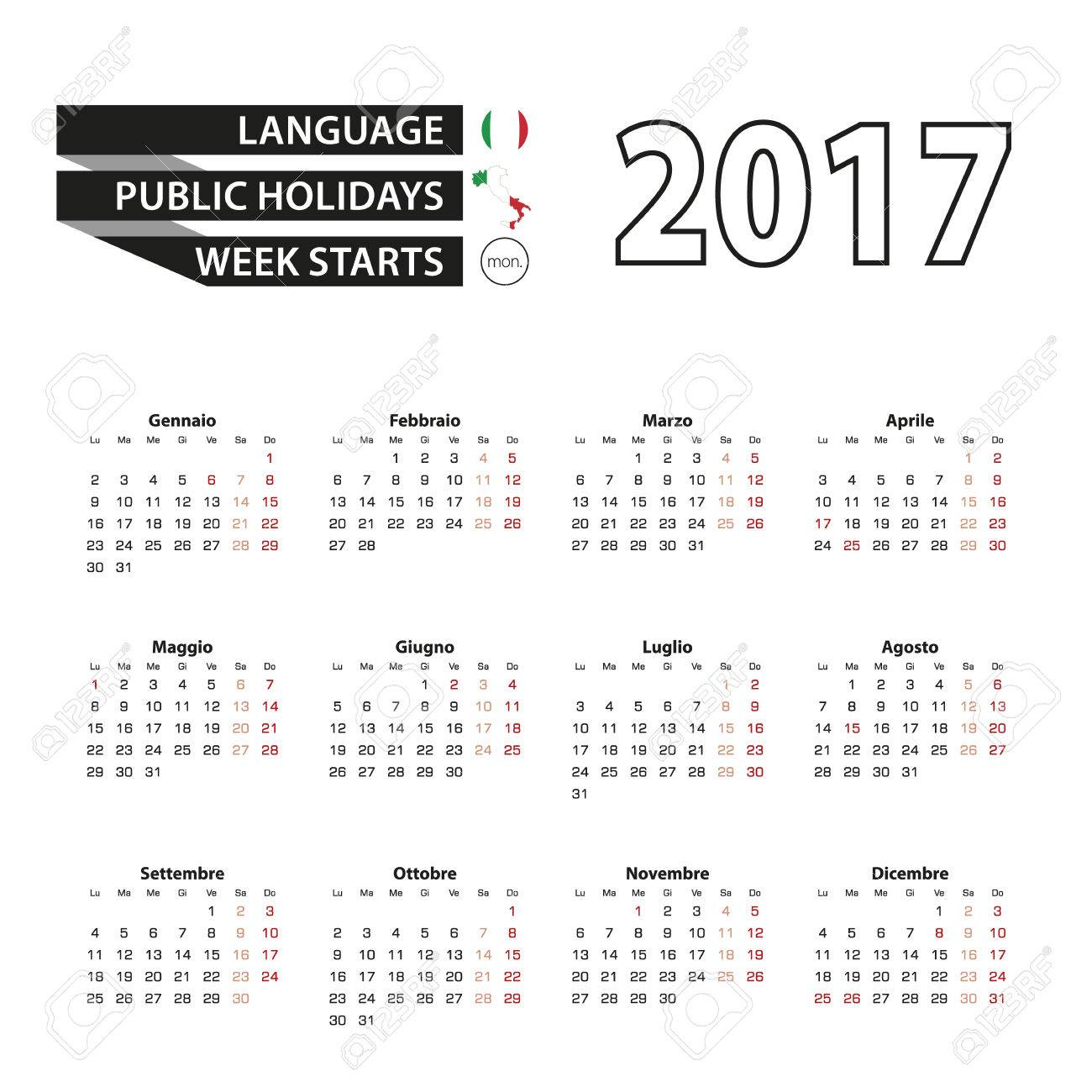 Calendar 2017 on Italian language. With Public Holidays for Italy in year 2017. Week starts from Monday. Simple Calendar. Vector Illustration. - 66694396