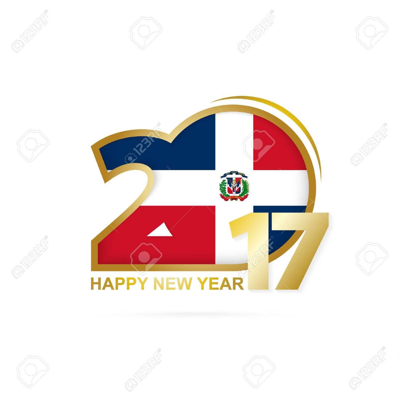 Year 2017 with Dominican Republic Flag pattern. Happy New Year Design on white background. Vector Illustration. - 66694455