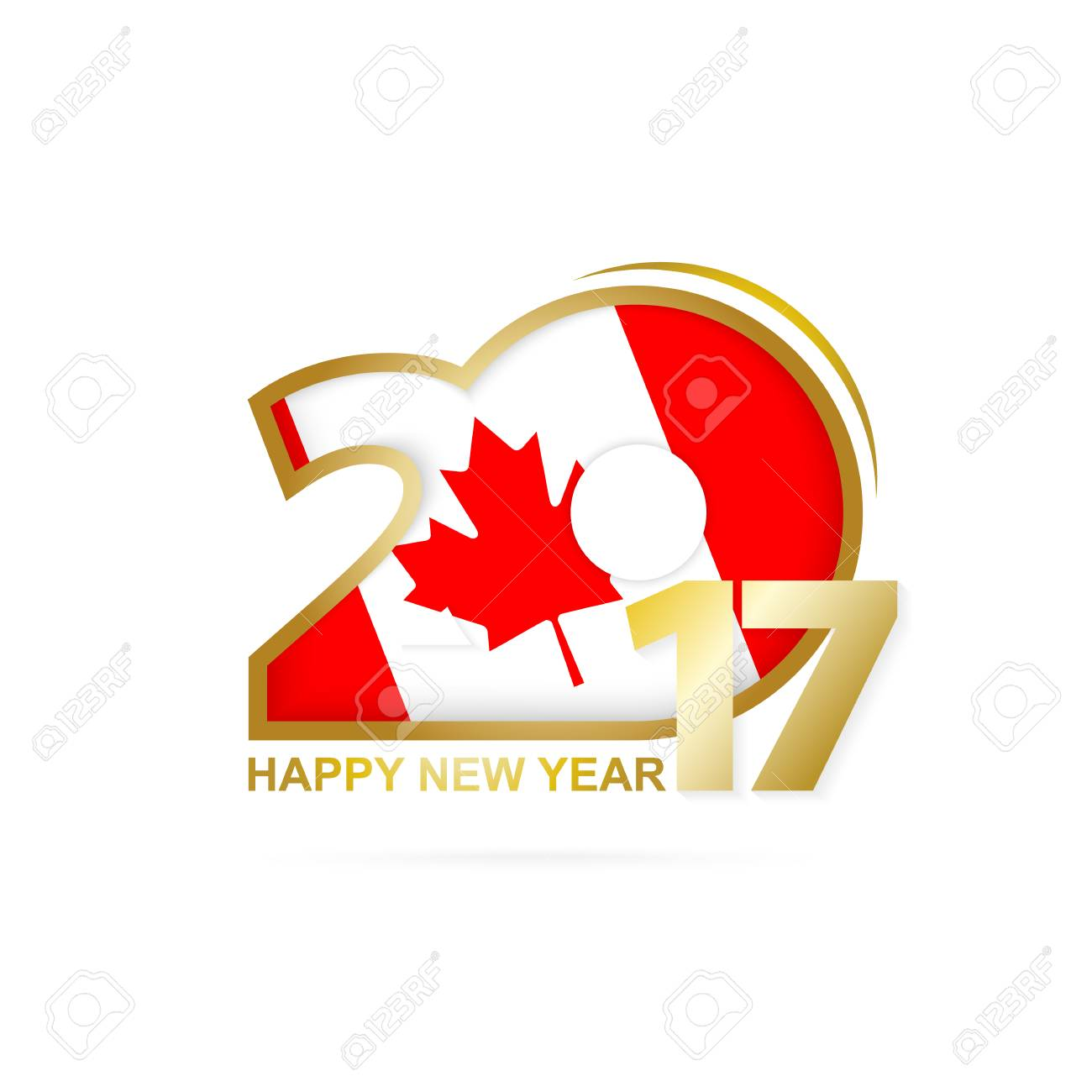 Year 2017 with Canada Flag pattern. Happy New Year Design on white background. Vector Illustration. - 66694781
