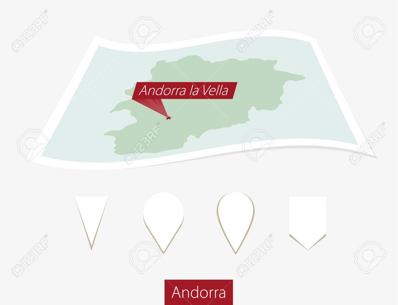 Curved Paper Map Of Andorra With Capital Andorra La Vella On