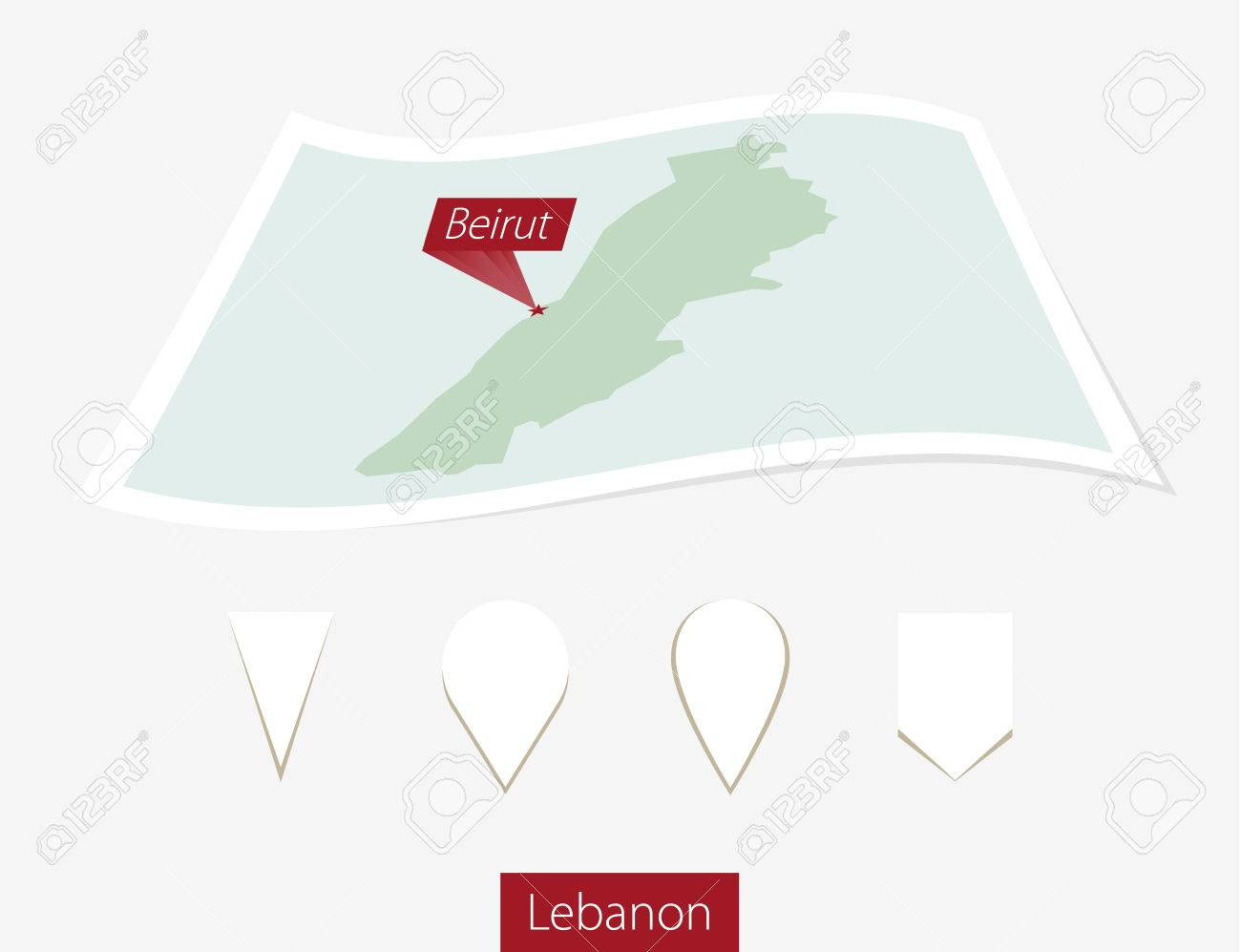 Curved Paper Map Of Lebanon With Capital Beirut On Gray Background on nicosia on map, doha on map, zagros mountains on map, cairo on map, baghdad on map, amman on map, west bank on map, kabul on map, muscat on map, tel aviv on map, damascus on map, manama on map, middle east map, riyadh on map, istanbul on map, tehran on map, sanaa on map, dubai on map, lebanon on map, harare on map,