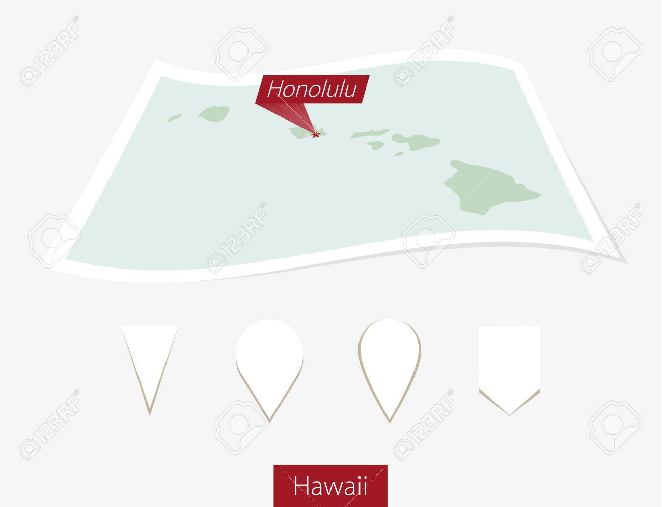 Curved Paper Map Of Hawaii State With Capital Honolulu On Gray
