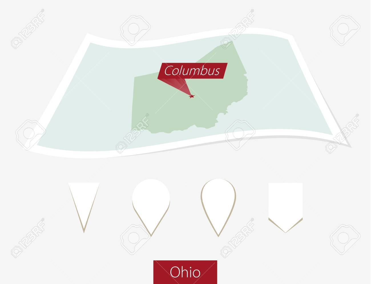 Curved Paper Map Of Ohio State With Capital Columbus On Gray