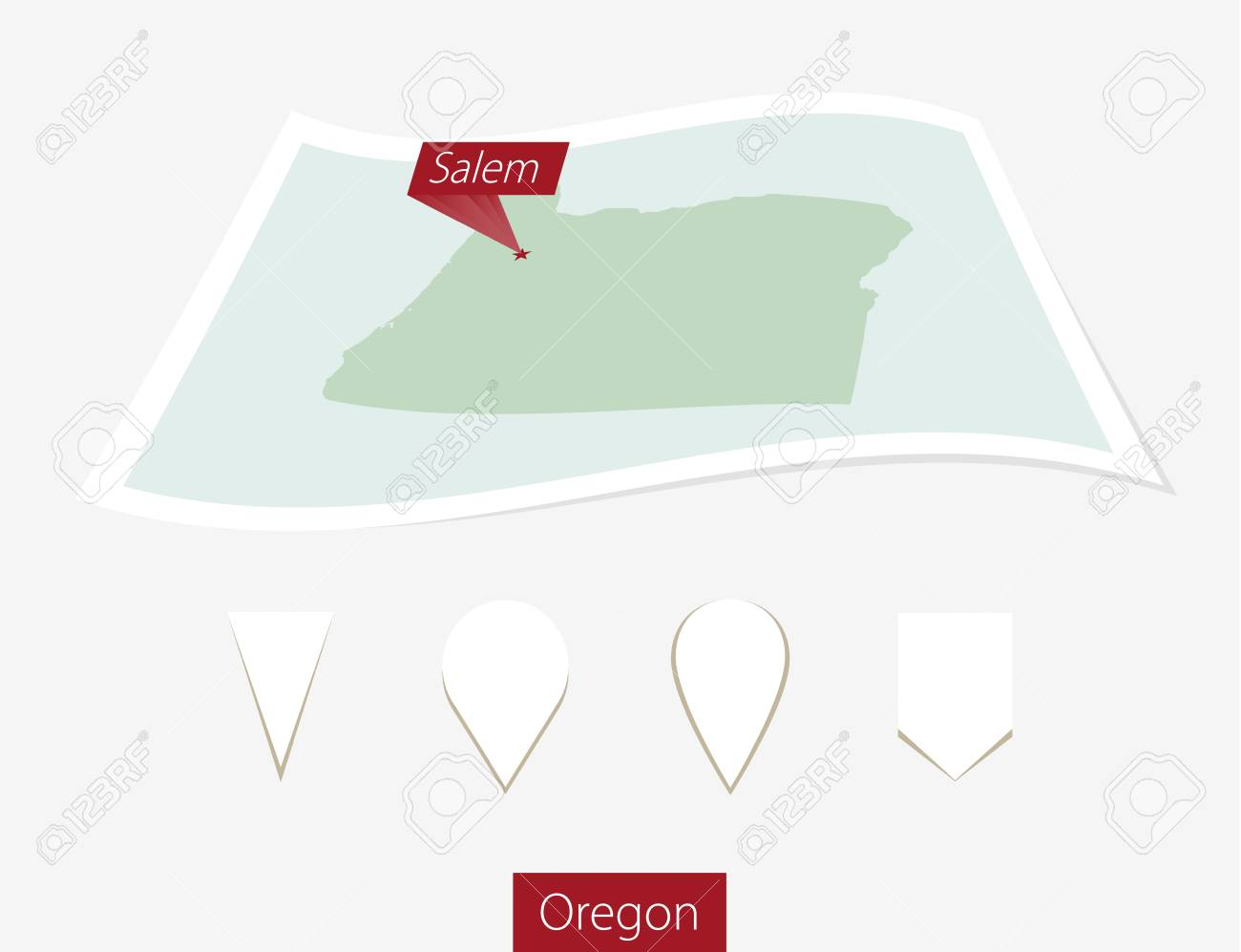 Capital Of Oregon Map.Curved Paper Map Of Oregon State With Capital Salem On Gray
