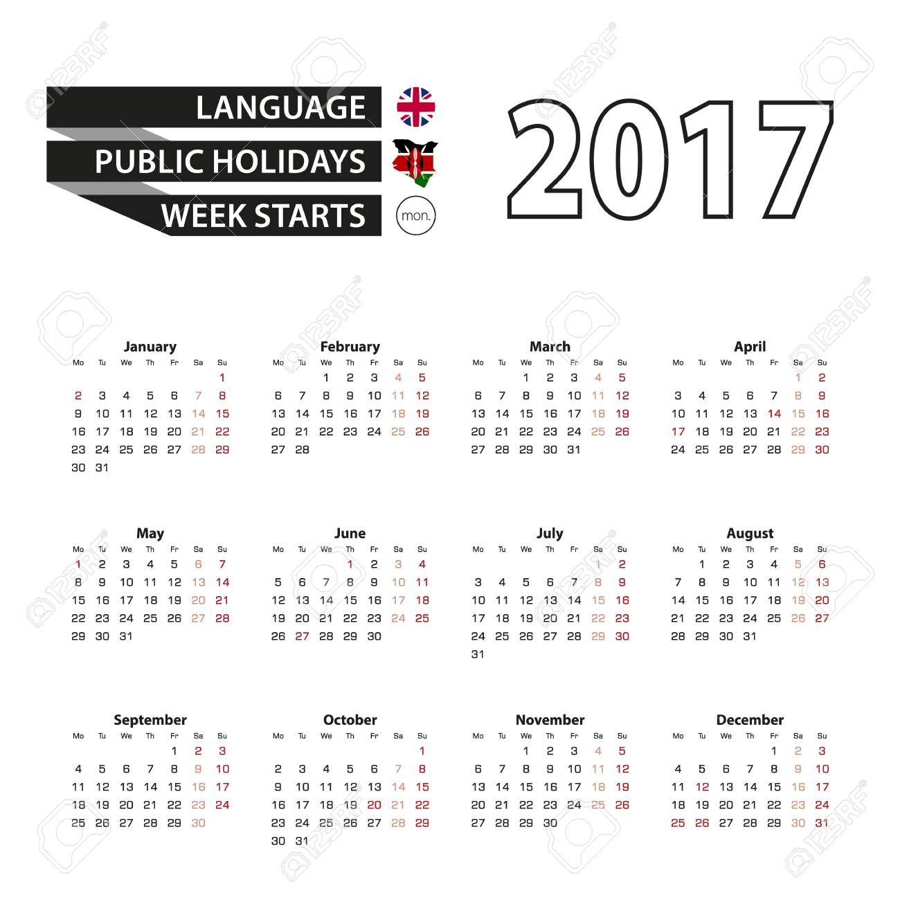 Calendar 2017 On English Language With Public Holidays For Kenya Royalty Free Cliparts Vectors And Stock Illustration Image 68319245