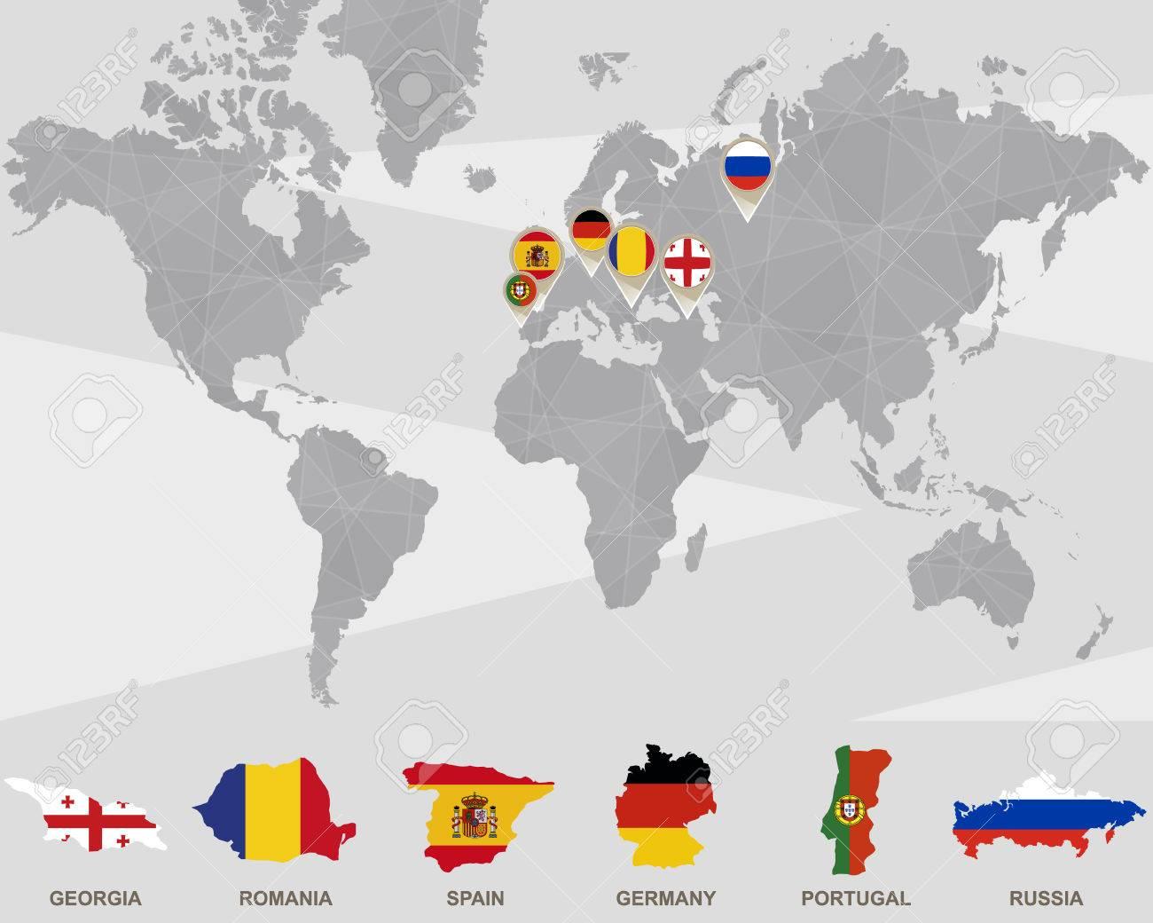 Carte Du Monde Allemagne.Carte Du Monde Avec La Georgie La Roumanie L Espagne L Allemagne Le Portugal La Russie Illustration Vectorielle