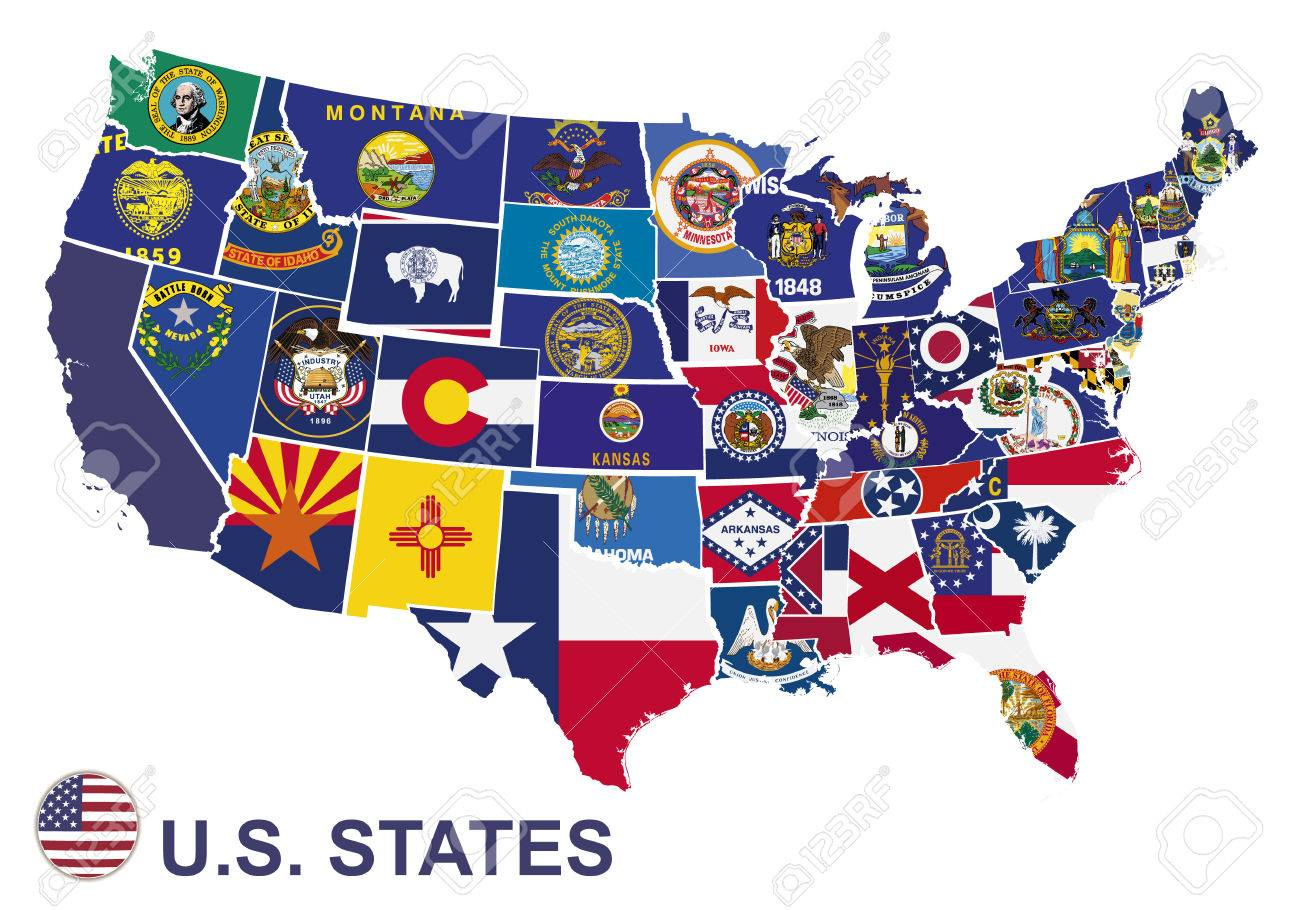 Us Map With Flags Of States On White Background Royalty Free