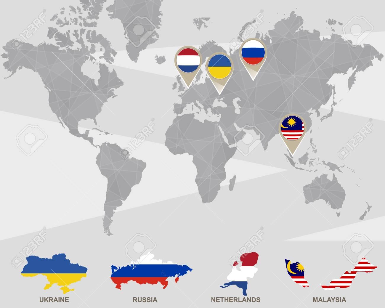 World map with ukraine russia netherlands malaysia pointers world map with ukraine russia netherlands malaysia pointers plane crash vector gumiabroncs Gallery