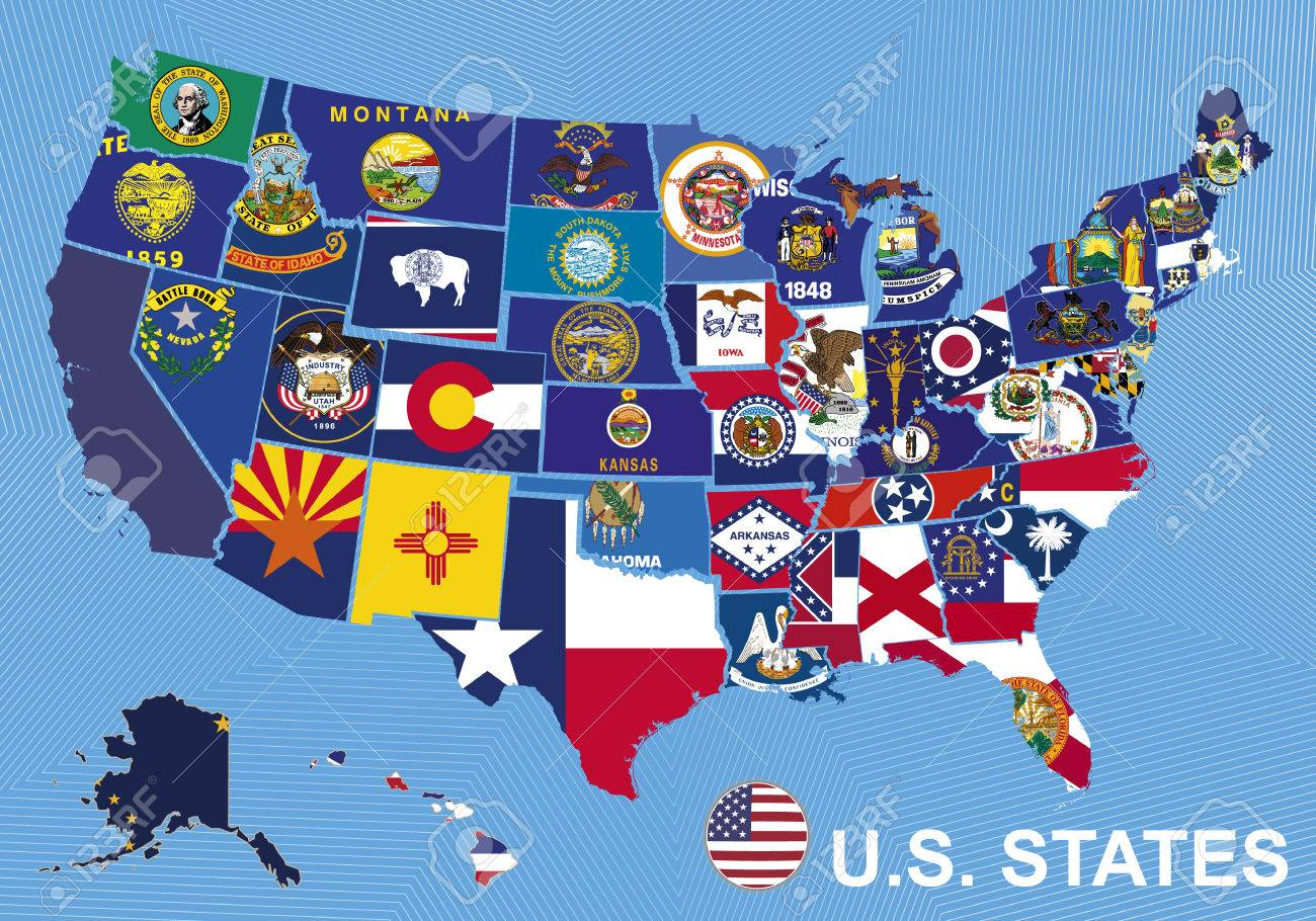 USA Map With Flags Of States, On Blue Background With Alaska ...
