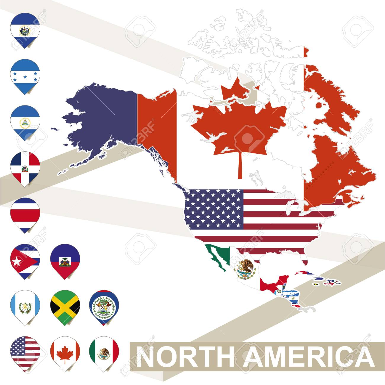 North America Map With Flags, North America Map Colored In With ...