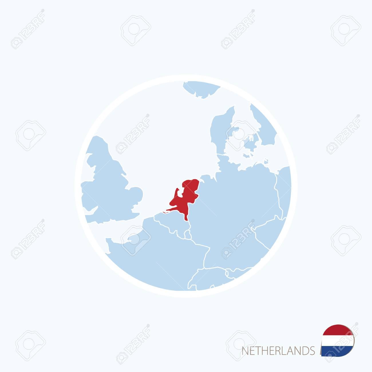 Carte Europe Pays Bas.Carte Bleue De L Europe Avec Les Pays Bas En Surbrillance En