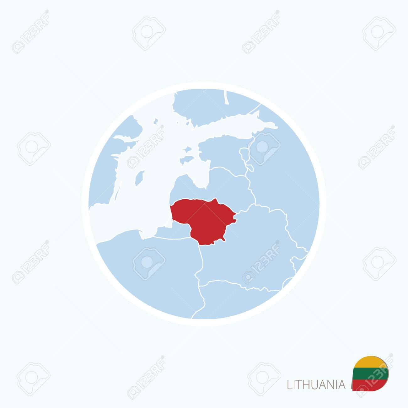 Lithuania On Europe Map.Blue Map Of Europe With Highlighted Lithuania In Red Color Royalty