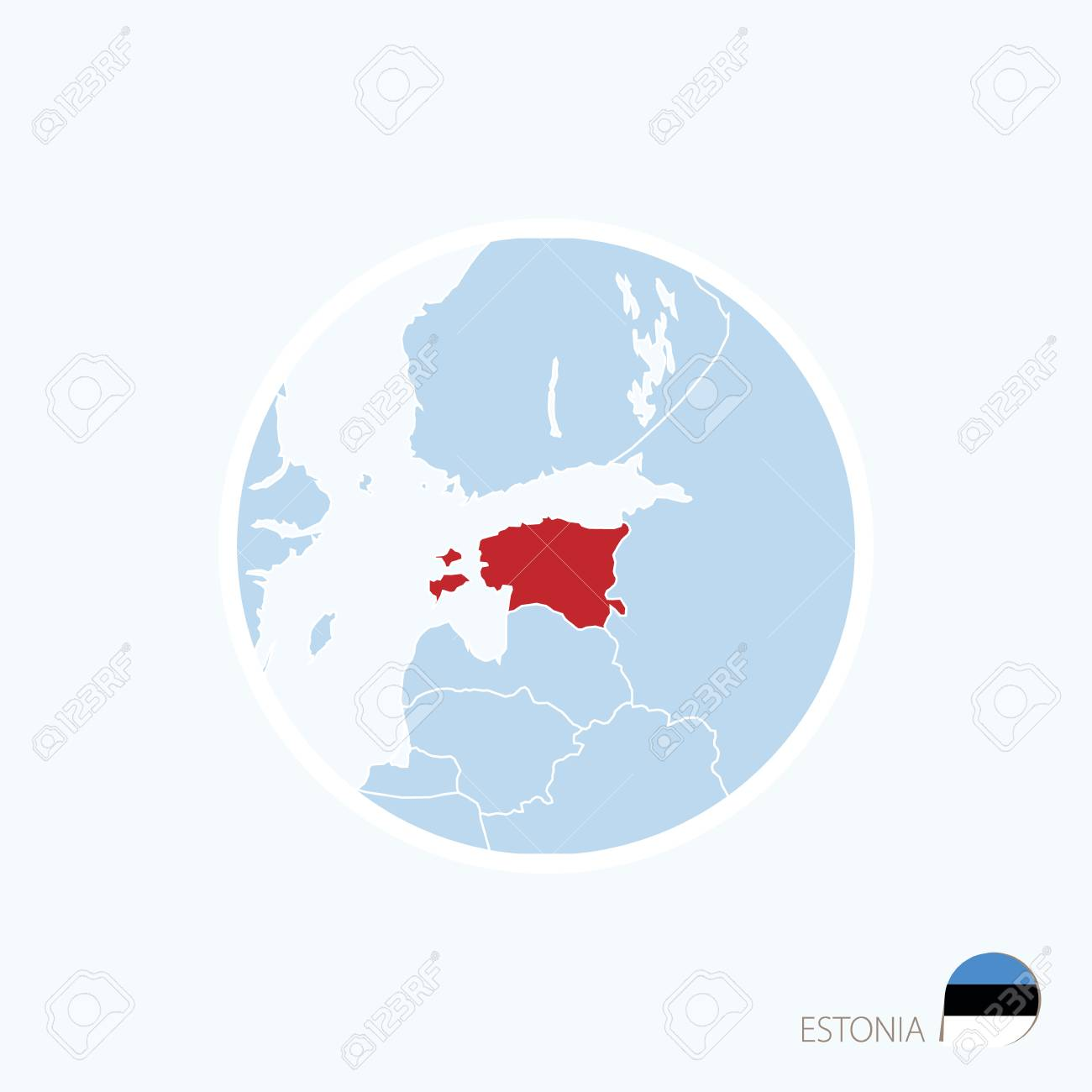 blue map of europe with highlighted estonia in red color stock vector 71518055