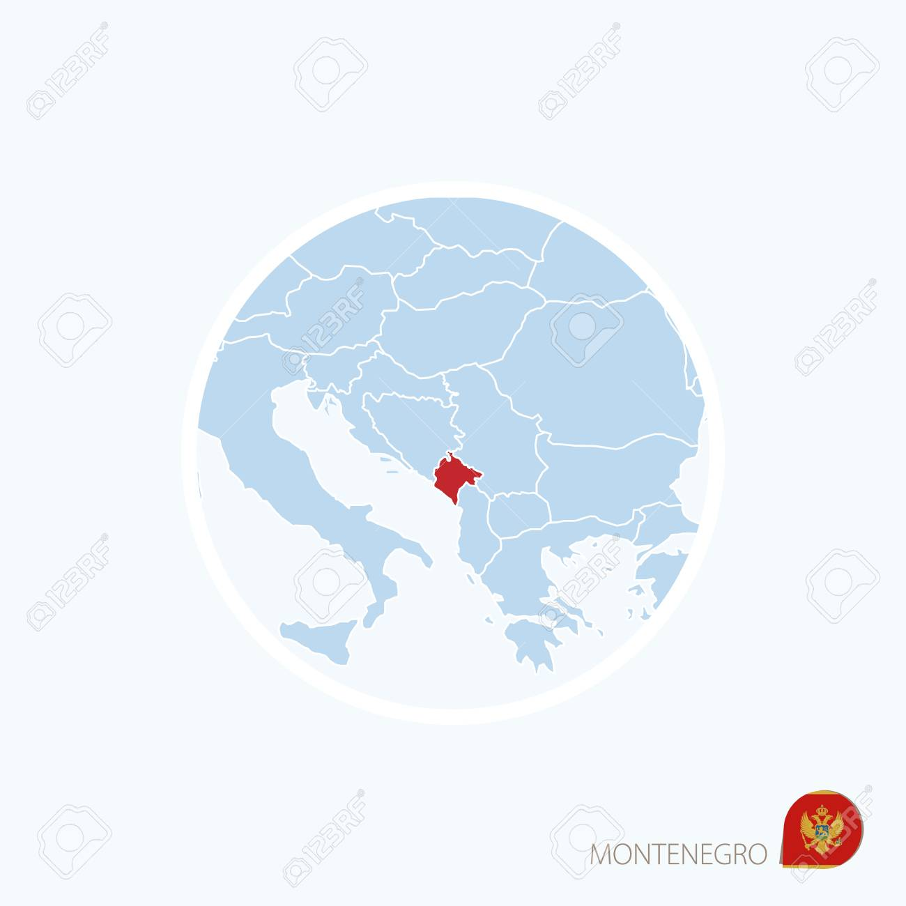 Blue map of europe with highlighted balkan country in red color blue map of europe with highlighted balkan country in red color stock vector 71518987 gumiabroncs Gallery