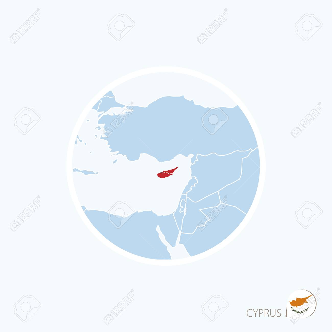 Map Icon Of Cyprus Blue Map Of Europe With Highlighted Cyprus