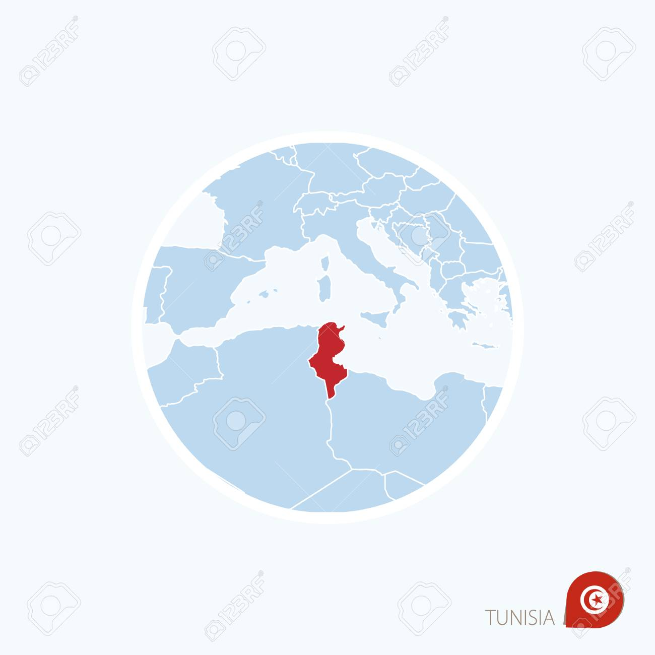 Map Icon Of Tunisia. Blue Map Of Africa With Highlighted Tunisia ...