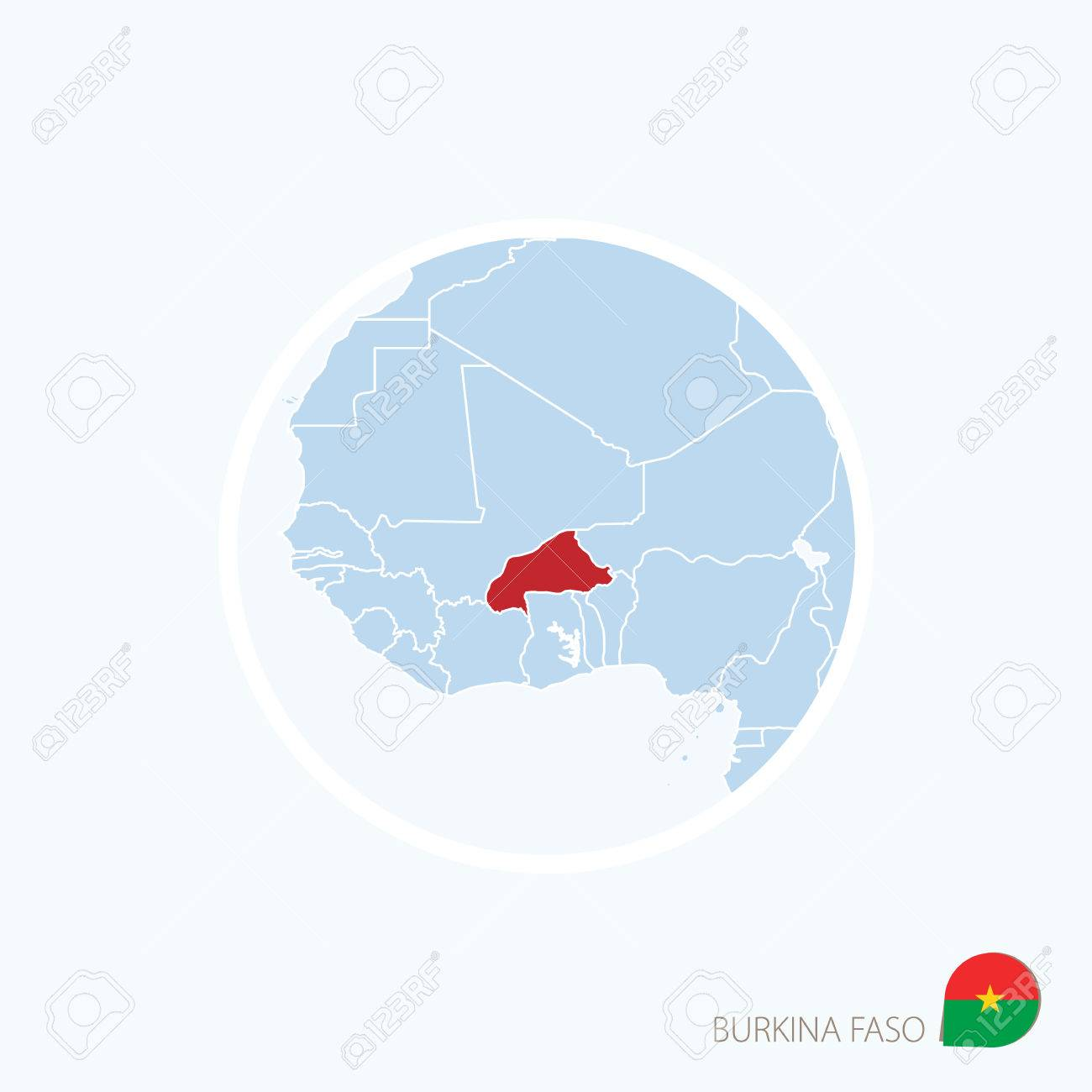 Map Icon Of Burkina Faso Blue Map Of West Africa With Highlighted