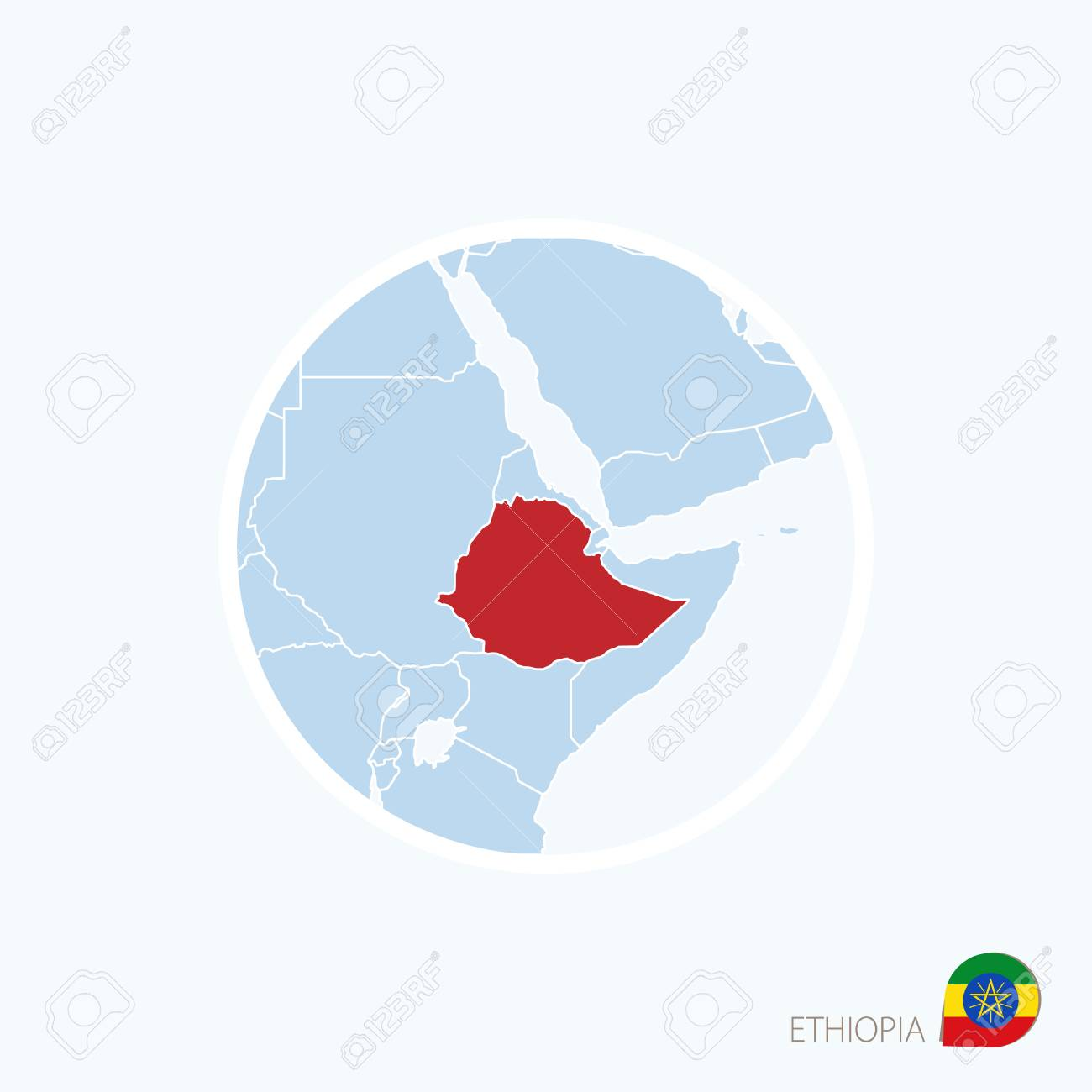 Map Of Ethiopia In Africa.Map Icon Of Ethiopia Blue Map Of Africa With Highlighted Ethiopia