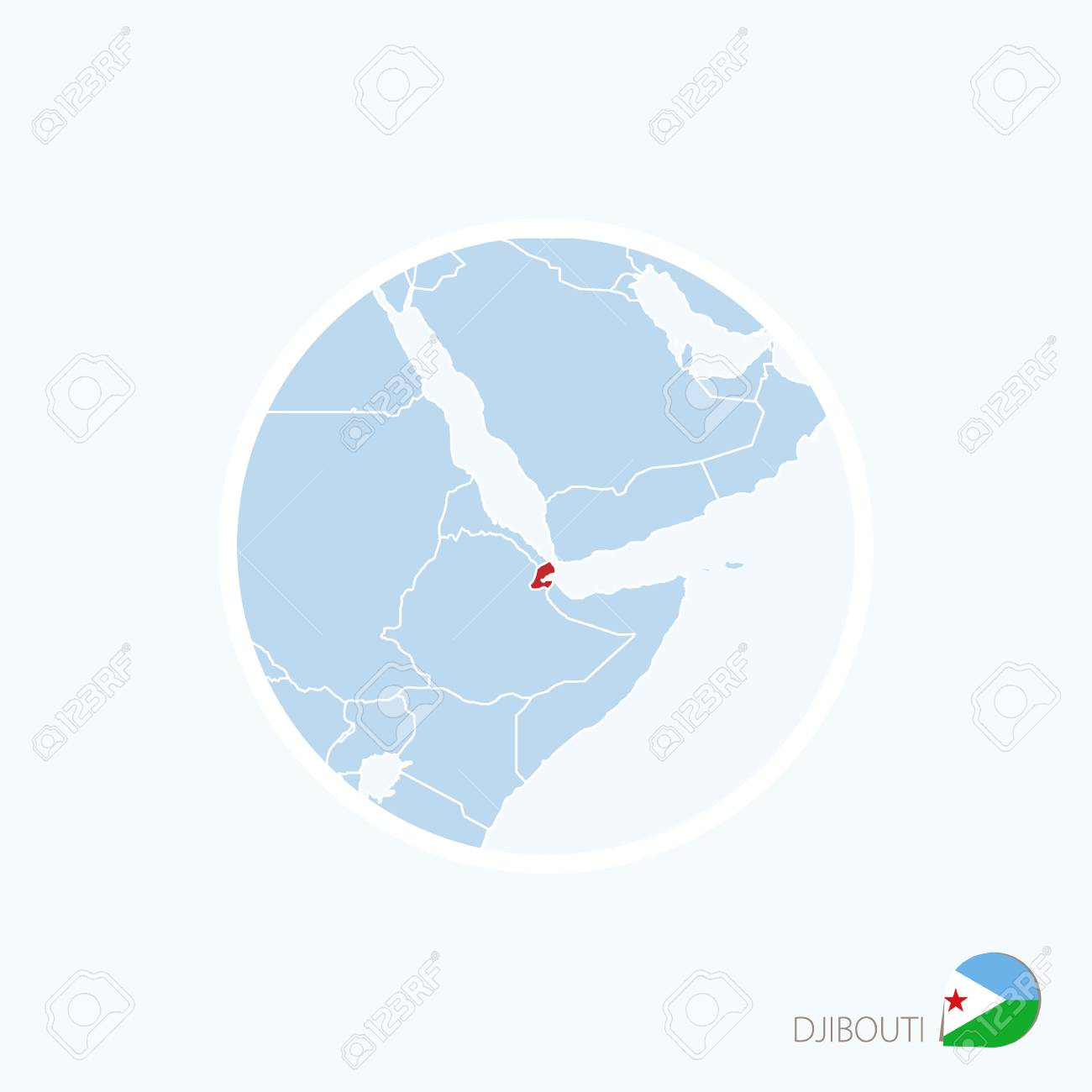 Djibouti On Africa Map.Map Icon Of Djibouti Blue Map Of Africa With Highlighted Djibouti