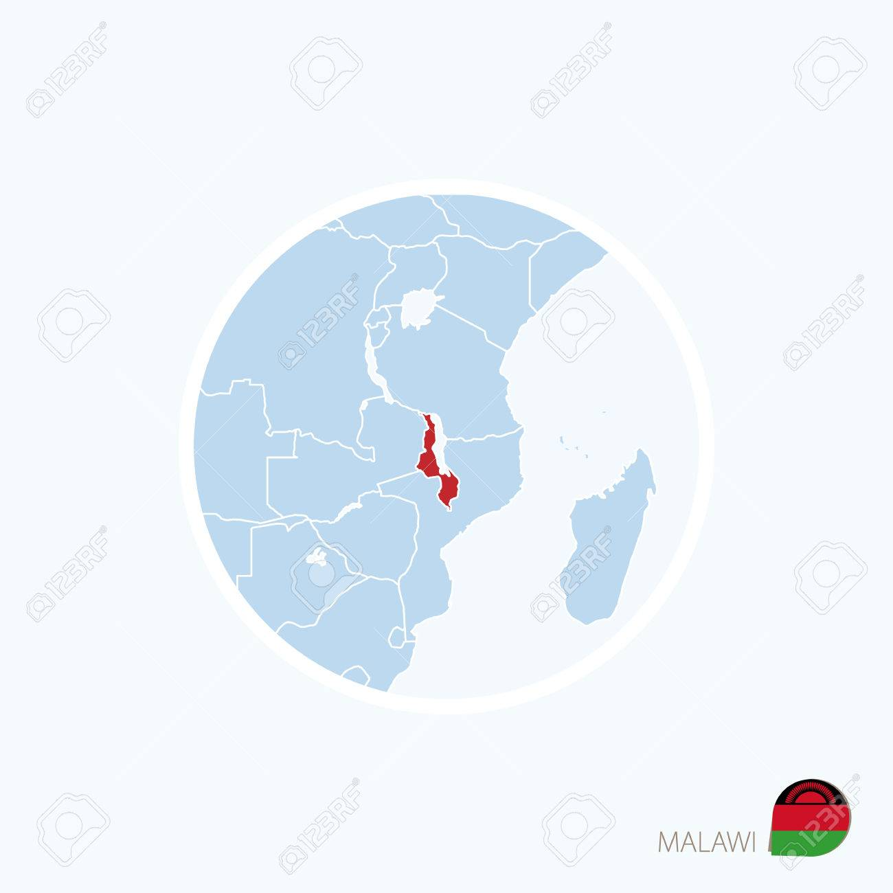 Malawi On Africa Map.Map Icon Of Malawi Blue Map Of Africa With Highlighted Malawi