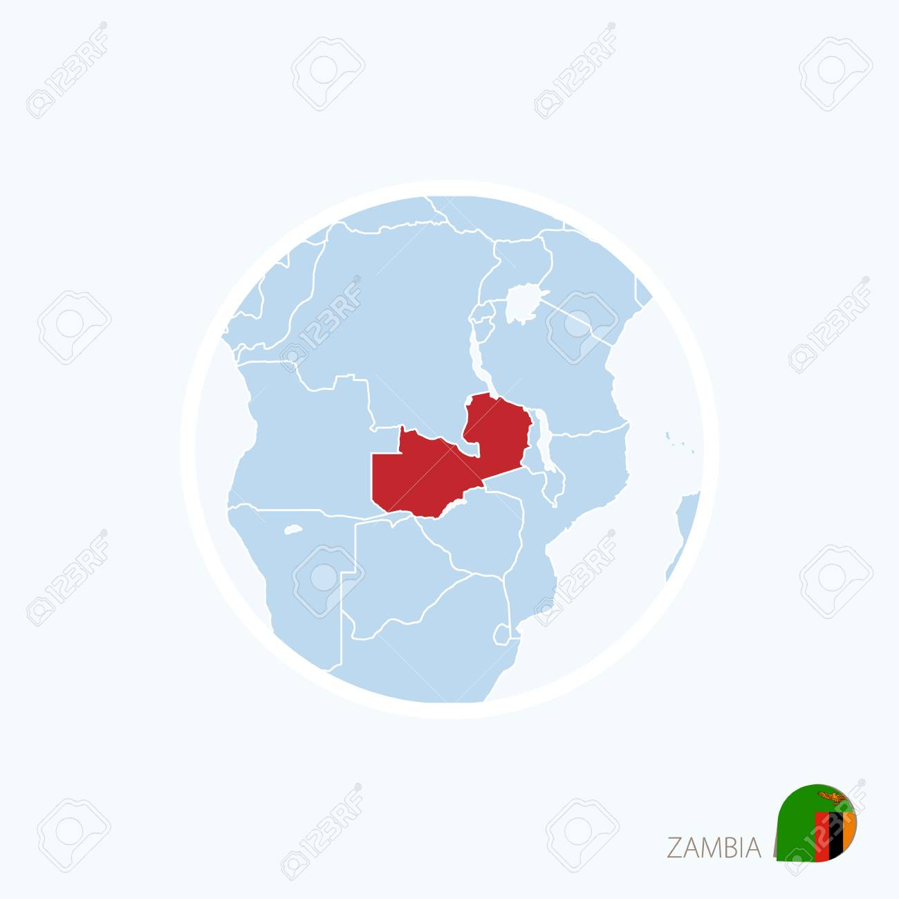 Map Icon Of Zambia Blue Map Of Africa With Highlighted Zambia