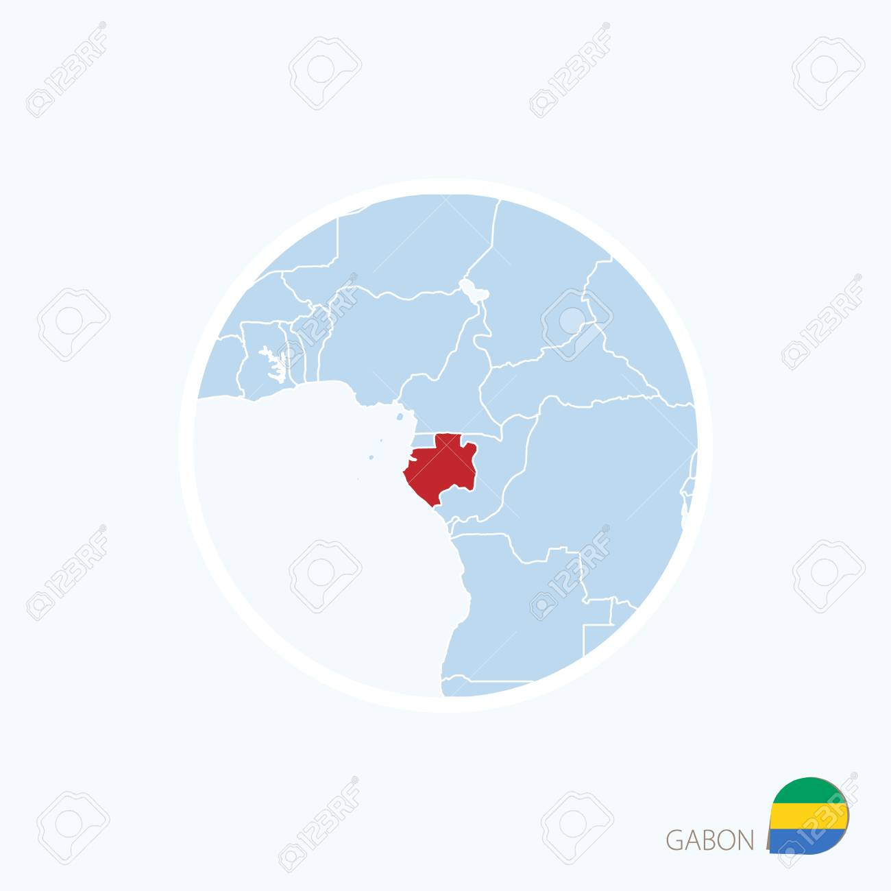 Map Icon Of Gabon Blue Map Of Central Africa With Highlighted