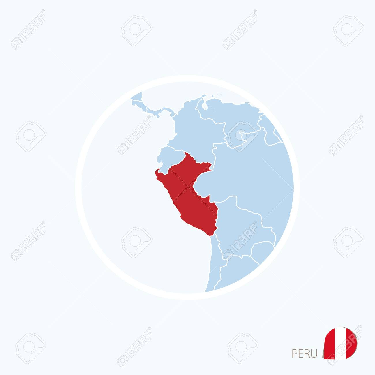 Map Icon Of Peru Blue Map Of Europe With Highlighted Peru In