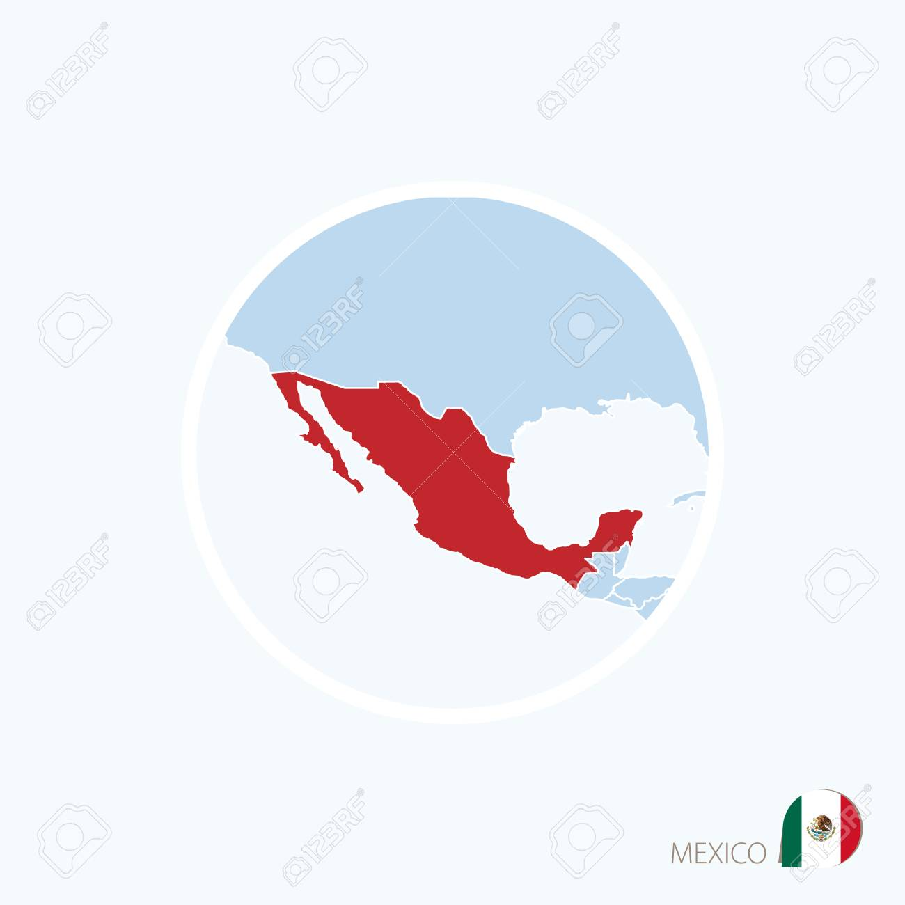 Map Icon Of Mexico. Blue Map Of North America With Highlighted ...