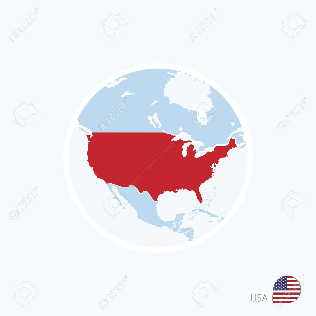 Map Icon Of USA. Blue Map Of North America With Highlighted United ...