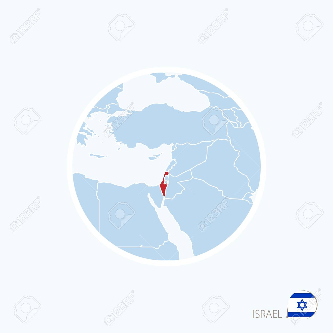 Map Icon Of Israel. Blue Map Of Middle East With Highlighted ...