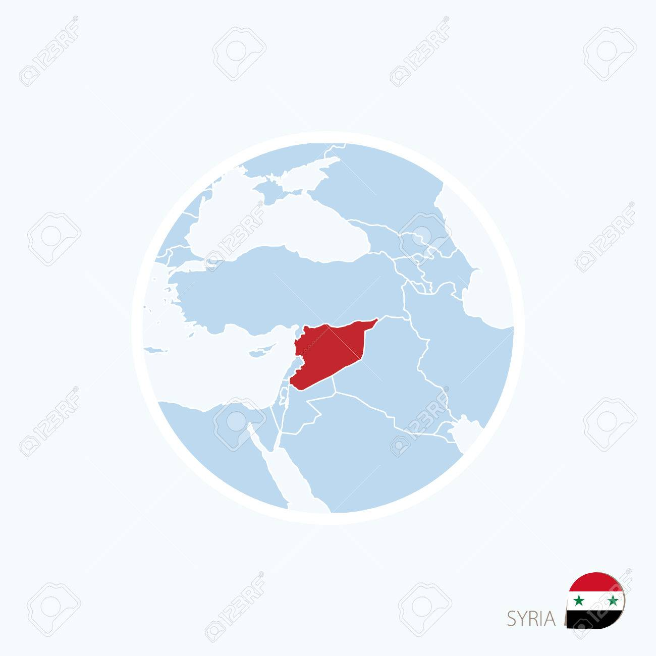 Map icon of Syria. Blue map of Middle East with highlighted Syria..