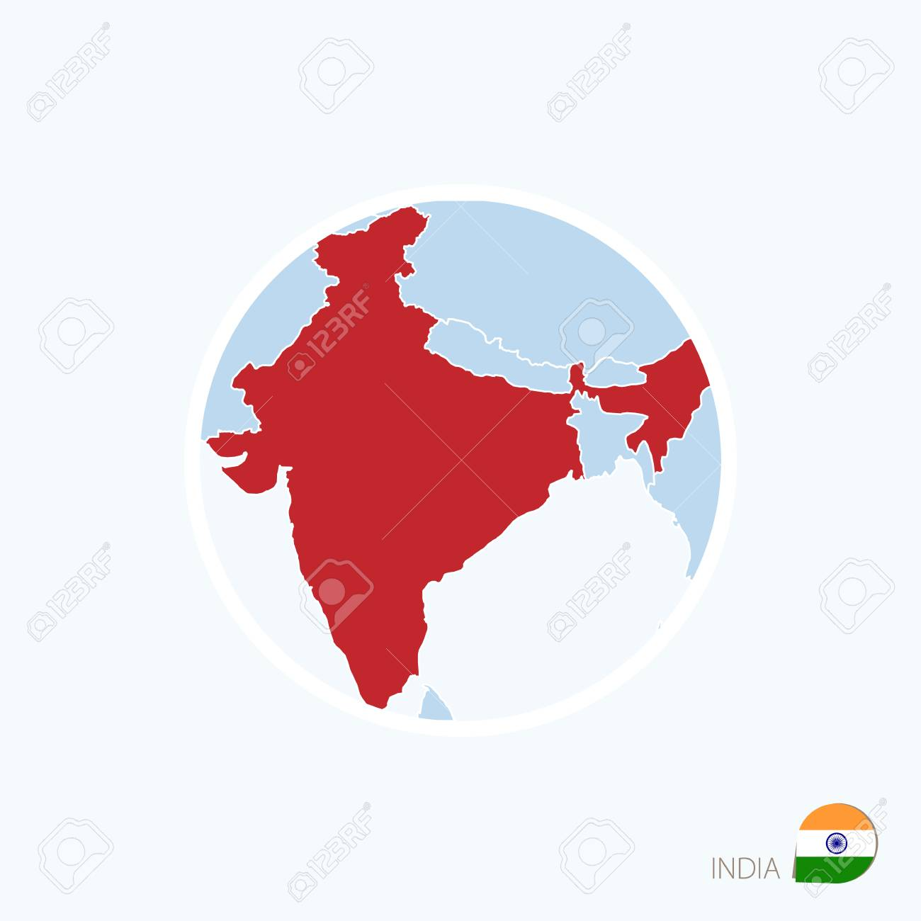 Map icon of india blue map of south asia with highlighted india map icon of india blue map of south asia with highlighted india in red color gumiabroncs Image collections