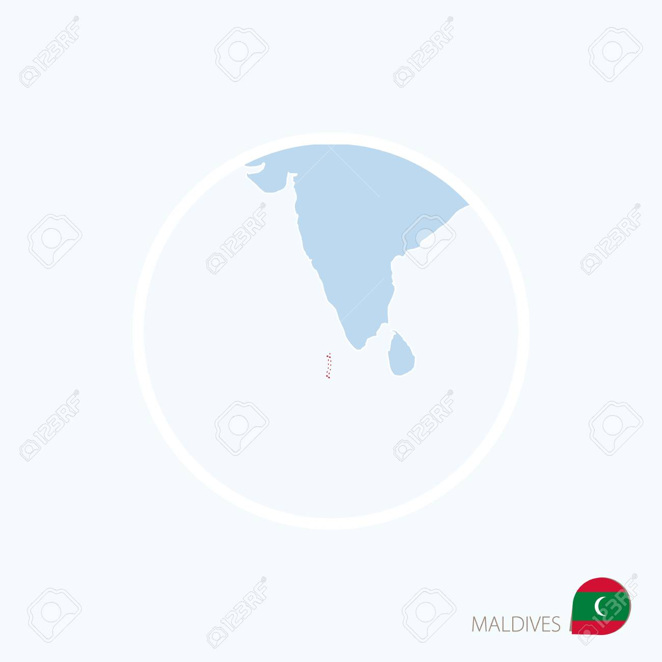 Map Icon Of Maldives Blue Map Of South Asia With Highlighted