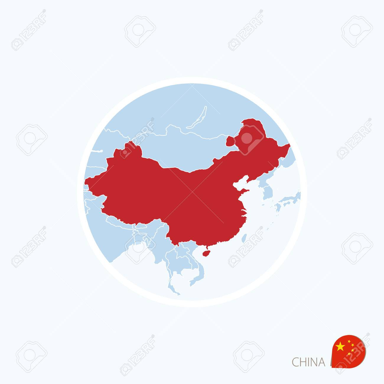 map icon of china blue map of east asia with highlighted china in red color