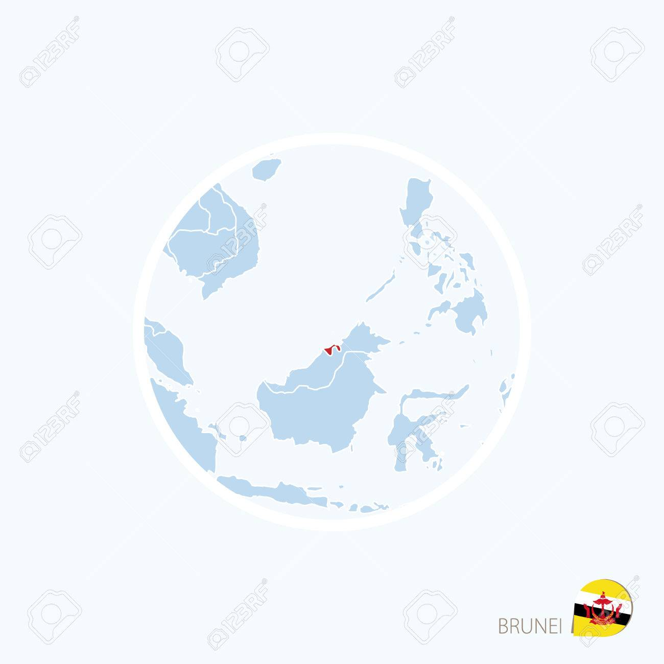 Map Of Asia Brunei.Map Icon Of Brunei Blue Map Of Asia With Highlighted Brunei