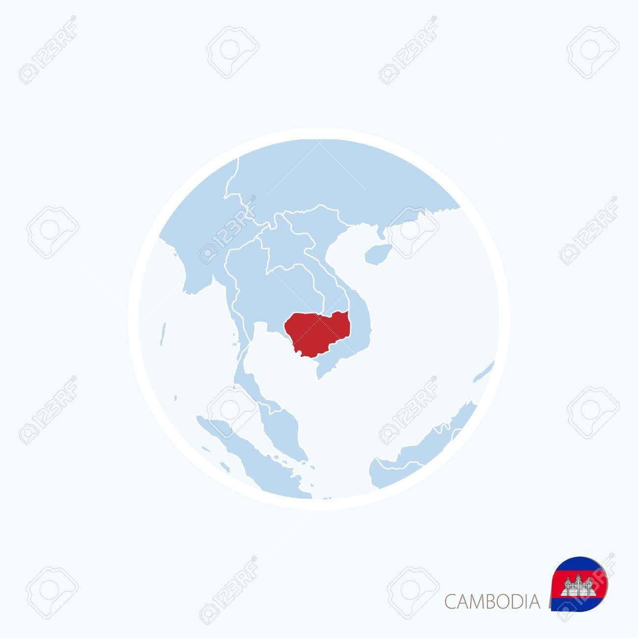 Icono De Mapa De Camboya Mapa Azul De Asia Con Camboya Destacada
