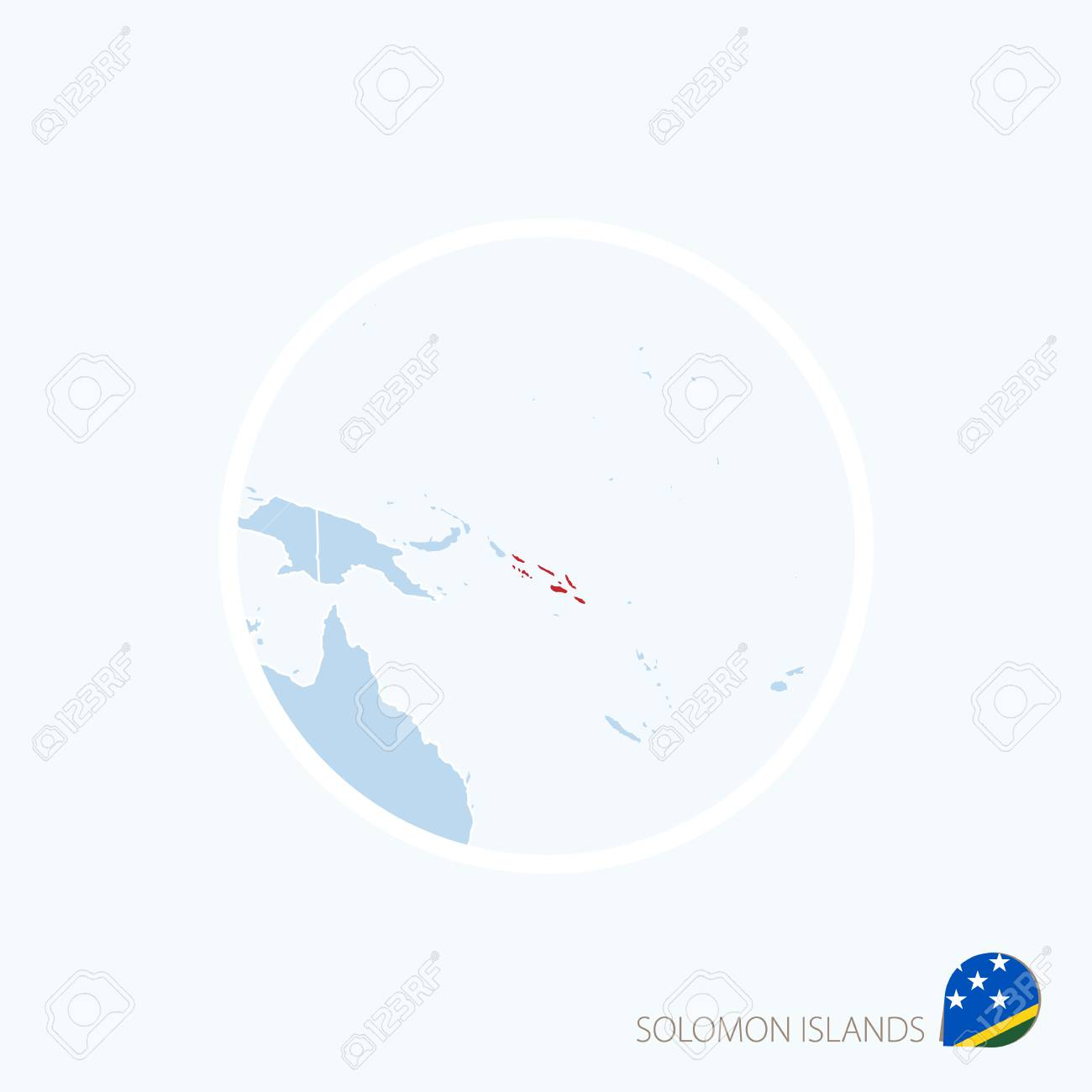 Map Icon Of Solomon Islands Blue Map Of Oceania With Highlighted