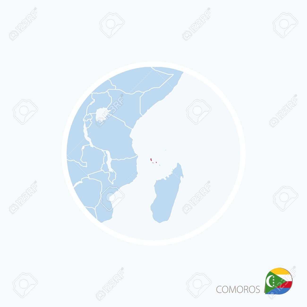 Icono Del Mapa De Comoras Mapa Azul De Africa Oriental Con Las