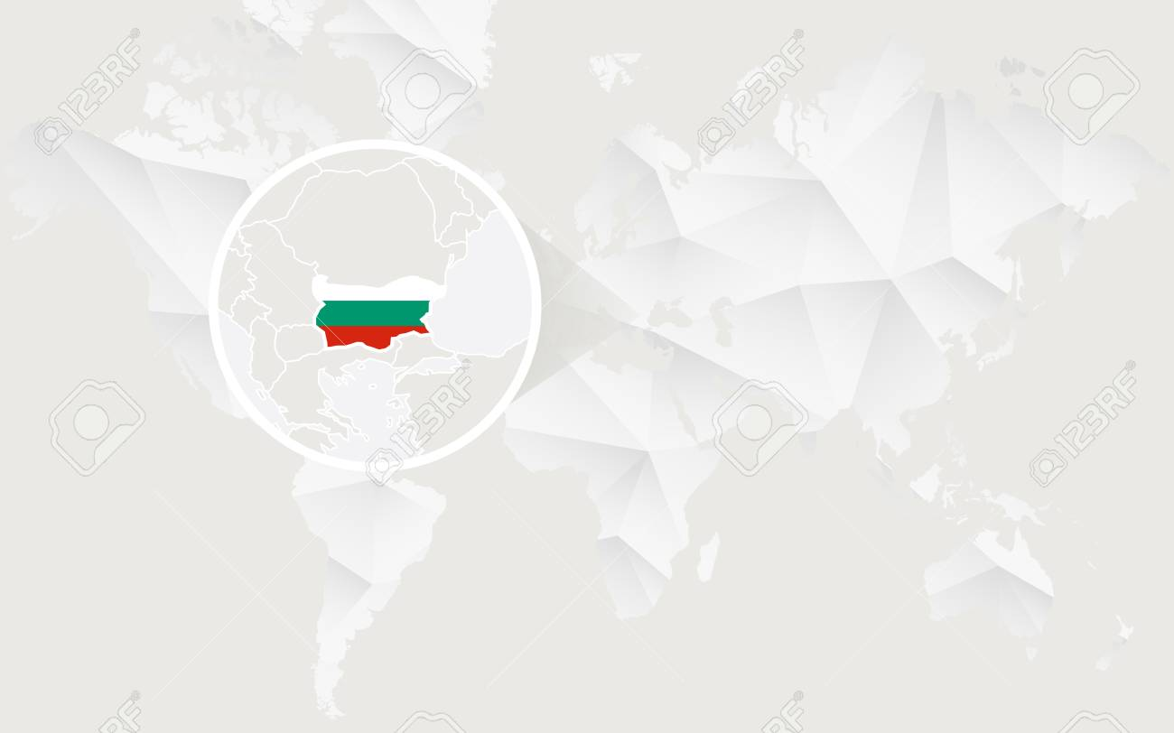 Bulgaria map with flag in contour on white polygonal world map bulgaria map with flag in contour on white polygonal world map vector illustration stock gumiabroncs Images