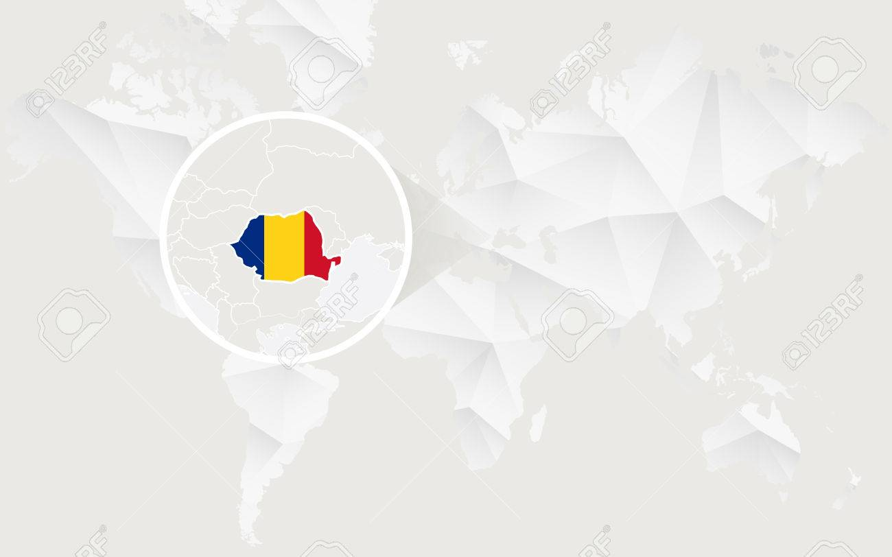 Romania map with flag in contour on white polygonal world map romania map with flag in contour on white polygonal world map vector illustration stock gumiabroncs Images