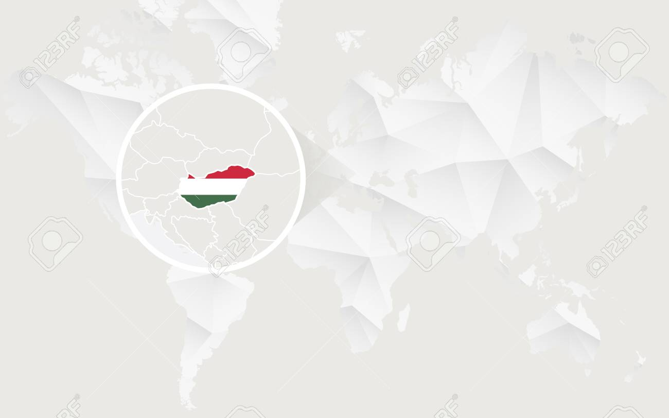 Hungary map with flag in contour on white polygonal world map hungary map with flag in contour on white polygonal world map vector illustration stock gumiabroncs Images