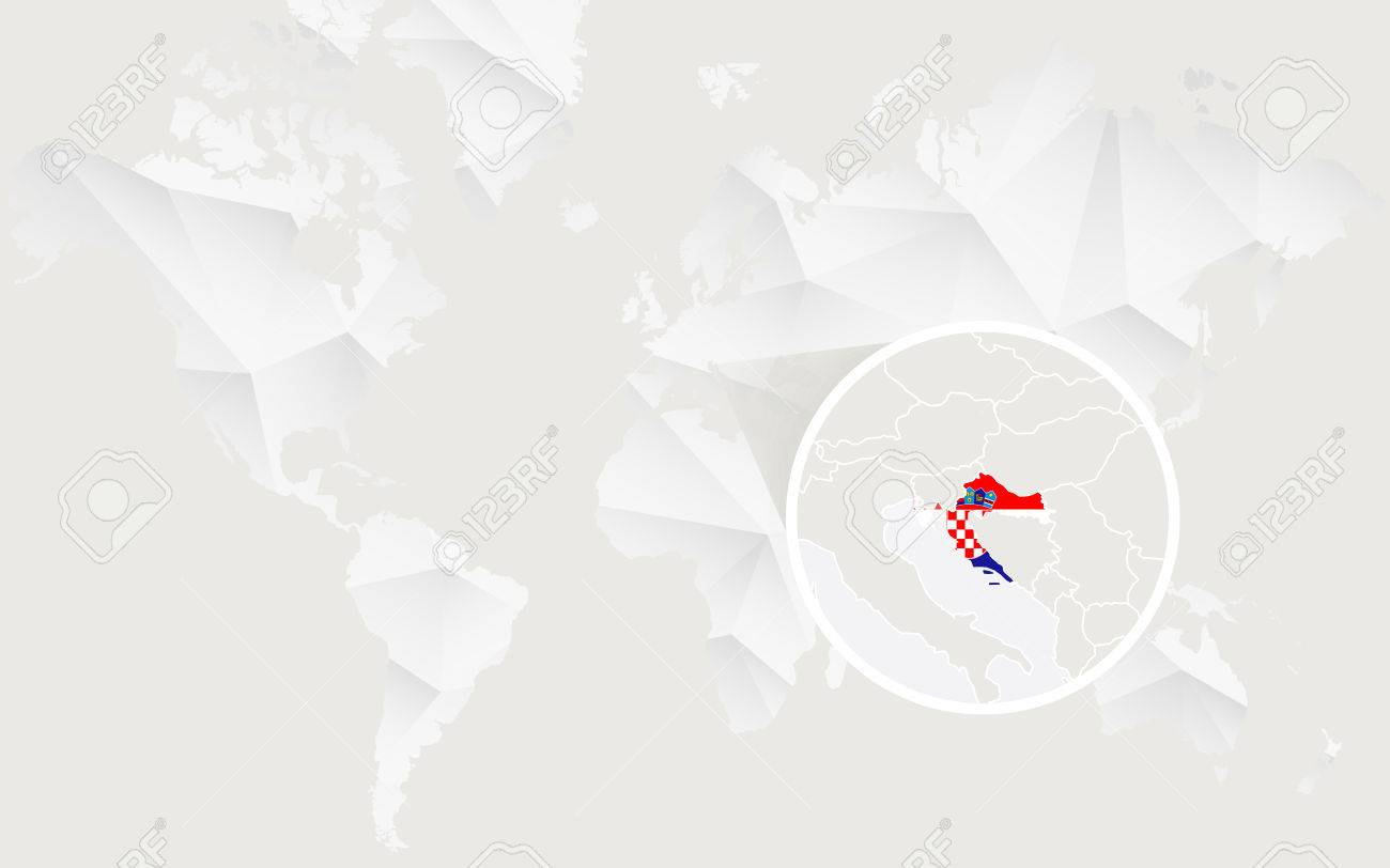 Croatia Map With Flag In Contour On White Polygonal World Map ...