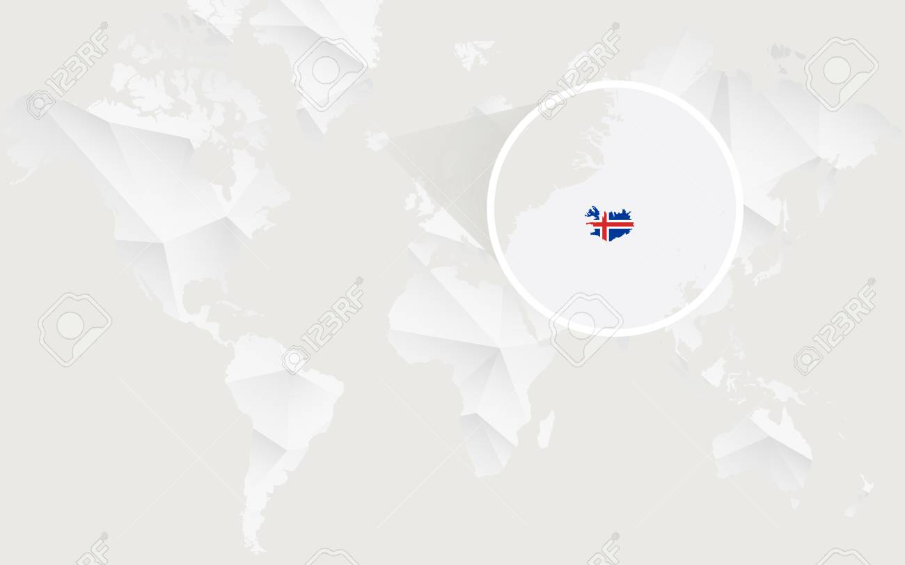 Iceland Map With Flag In Contour On White Polygonal World Map ...