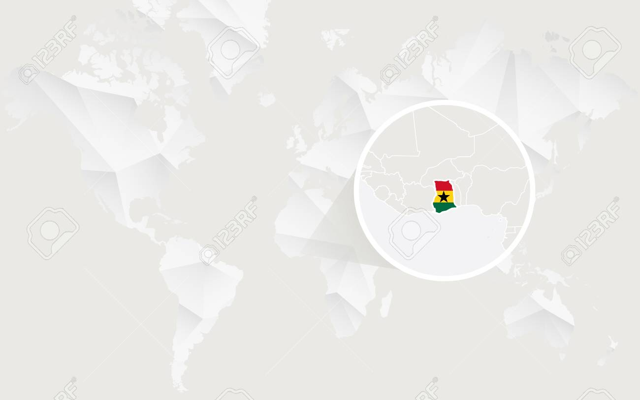 Ghana On A World Map.Ghana Map With Flag In Contour On White Polygonal World Map