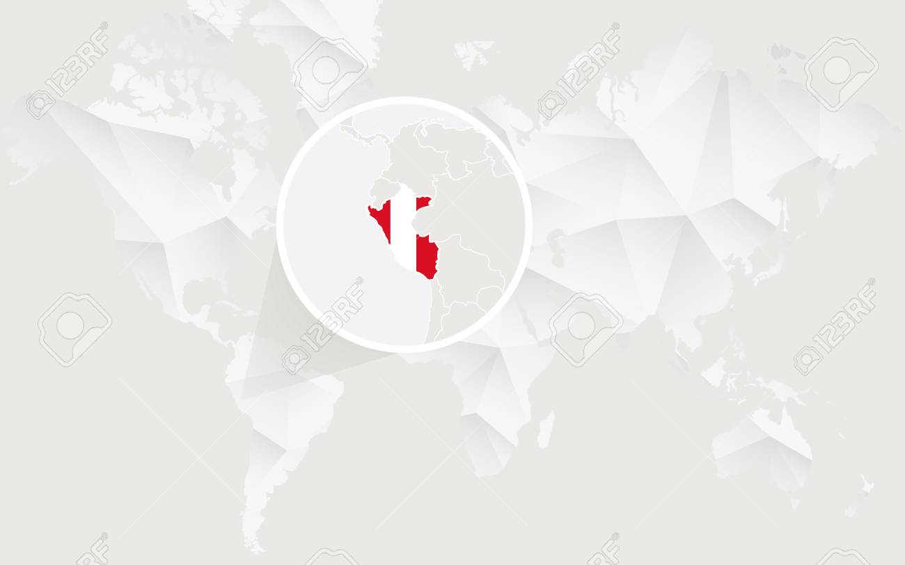 Peru map with flag in contour on white polygonal world map vector peru map with flag in contour on white polygonal world map vector illustration stock gumiabroncs Images